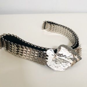 Vintage fish scale leaf buckle elastic belt